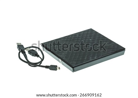 External DVD rom isolated on white background - stock photo