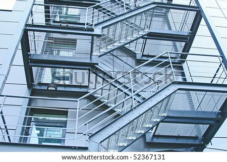 external fire escapes in a modern building - stock photo