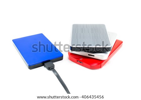 External Hard disk drive with cable isolated white - stock photo