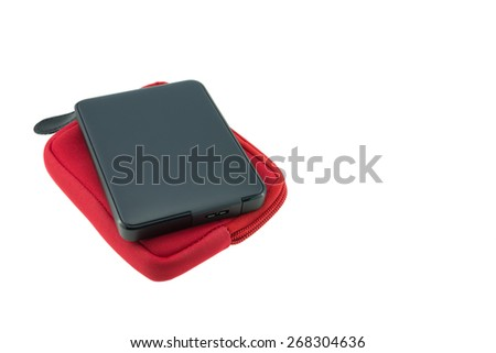External hard disk isolated on a white background - stock photo