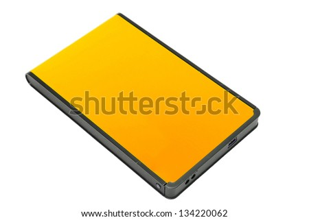 External Hard Disk Isolated On White - stock photo