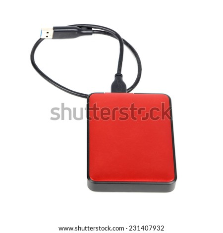 External hard disk on a white background