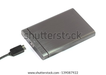 External hard disk on white background - stock photo