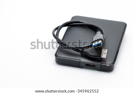 External hard drive for backup on isolated background.