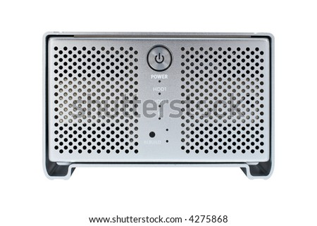 External hard drive isolated on white background. Front view - stock photo