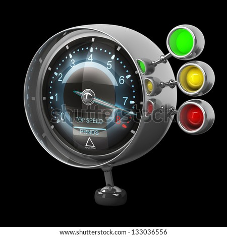 External tachometer isolated on black background. High resolution 3d render - stock photo