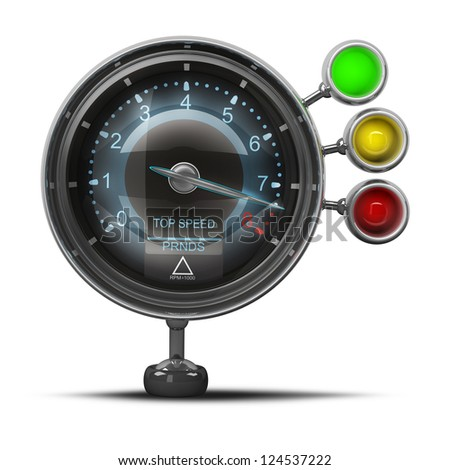External tachometer isolated on white background. High resolution 3d render - stock photo