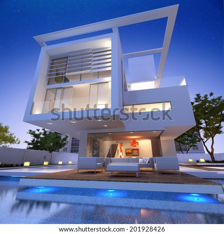 External view of a contemporary house with pool at dusk - stock photo