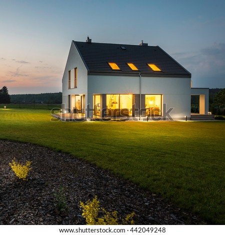 view modern house lights. Interesting House External View Of Stylish And Modern House With Outdoor Lights At Night In View Modern House Lights