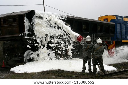 extinguish the fire on the railroad, fire train - stock photo