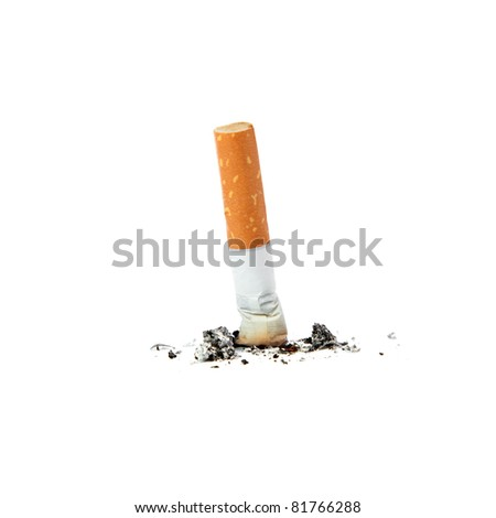 Extinguished cigarette. Isolated on a white background