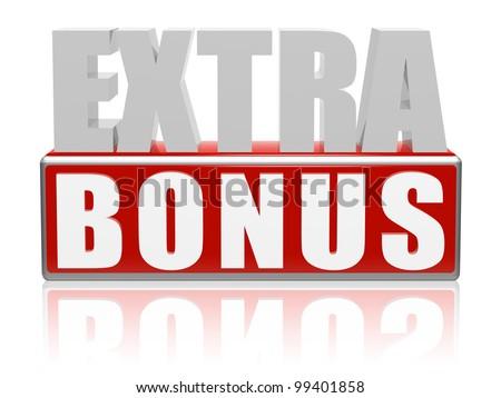Extra Bonus 3 D Letters Red Box Stock Illustration 99401858
