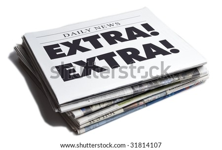 Extra Extra newspaper isolated on white background - stock photo