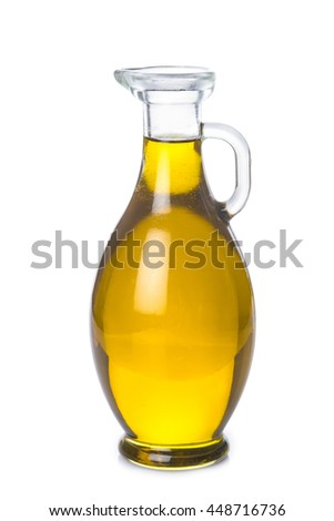 Extra virgin olive oil bottle isolated on a white backgroun - stock photo