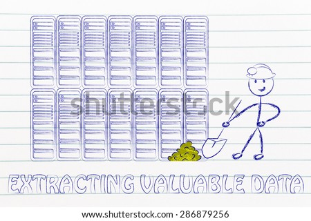 extracting valuable data: metaphor of man digging for gold nuggets in a server room, symbol of valuable data