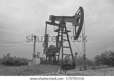 extraction pump on a hill in Romania, Prahova Country
