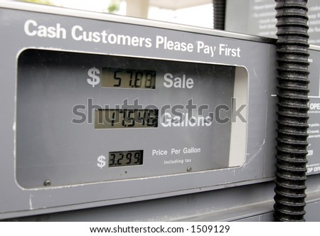 Extraordinary gas pump prices. - stock photo