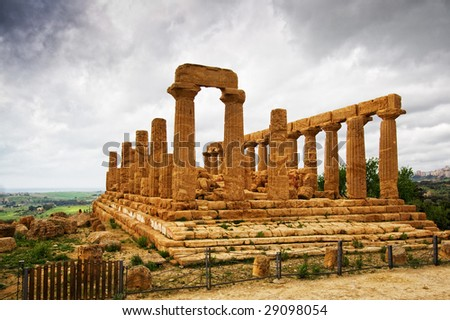 Extraordinary greek temple in the Valley of the Temples in Agrigento - Sicily
