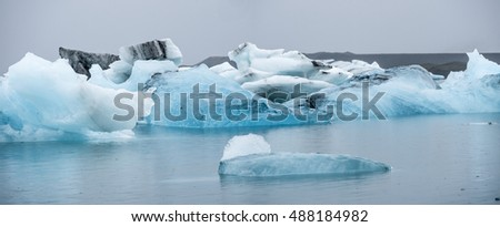Extraordinary icebergs in the Glacier Lagoon, Jokulsarlon.  The blue is from the pure compressed ice of the glacier,Breidamerkurjokull.