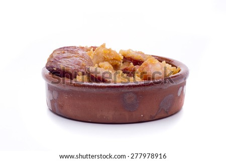 Extremadura crumbs, a typical dish of southern Spain, based bread and garlic - stock photo