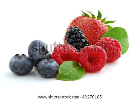 Extreme close-up image of berries studio isolated on white background - stock photo
