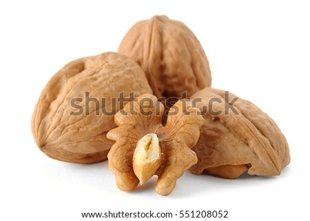 Extreme close-up image of walnuts studio isolated on white background