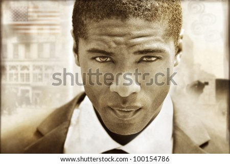 Extreme close-up of a serious young man in sepia tones with a vintage retro styling - stock photo