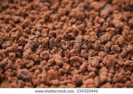 Extreme close-up of instant coffee.