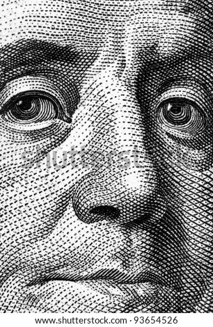 Extreme close-up of one hundred bill Franklin portrait. - stock photo
