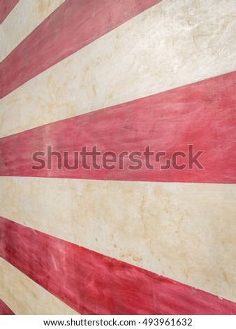 Extreme close-up of red and white stripes of one story tall painted American flag on wall.  Forced perspective. / American Flag Abstract II - Stripes