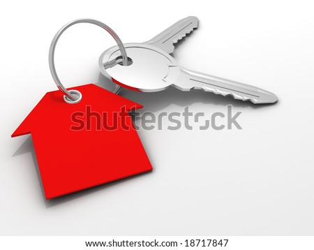 Extreme close-up of two keys with gift tag in house shape - rendered in 3d - stock photo