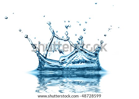 Extreme close-up of water splash with abstract reflection