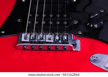 Extreme closeup macro of an electric guitar