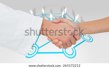 Extreme closeup of a doctor and patient shaking hands against lines linking characters - stock photo