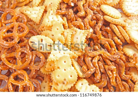 extreme closeup of a salted cookies stack - stock photo