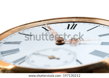 Extreme closeup of an antique golden pocket watch isolated on white background. Concept of time, past or deadline - stock photo