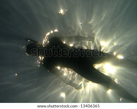 Extreme deep diving - stock photo
