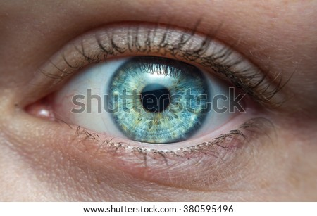 Extreme macro of a blue eye of a girl
