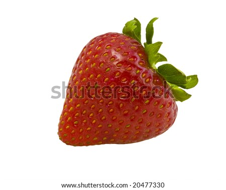 Extreme macro of a strawberry isolated on white background - stock photo
