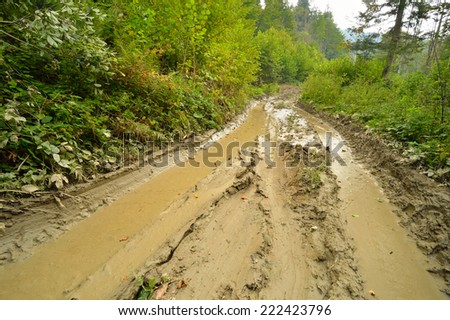 Extreme off road 4x4 muddy way through European forest. Poland. - stock photo