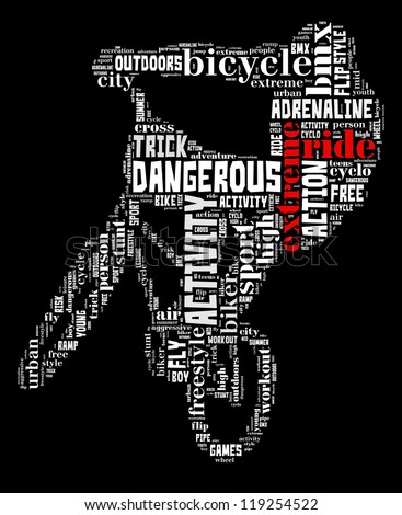 Extreme ride info-text graphic and arrangement concept on black background (word cloud) - stock photo