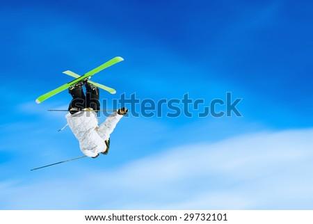 Extreme ski jumping. - stock photo