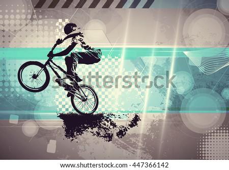 Extreme sport, bmx rider. Vintage style illustration - stock photo