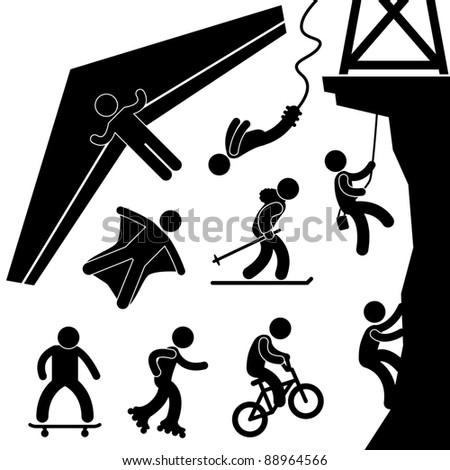 Extreme Sport Hang Glider Bungee Jump Rock Climbing Skating Icon Symbol Sign Pictogram - stock photo