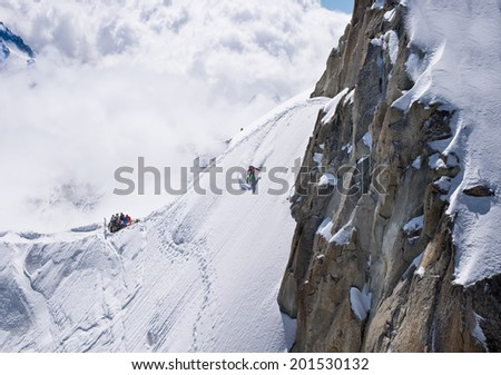 Extreme summer skiing at altitude  3842m  from Aiguille du Midi - Chamonix, France. - stock photo