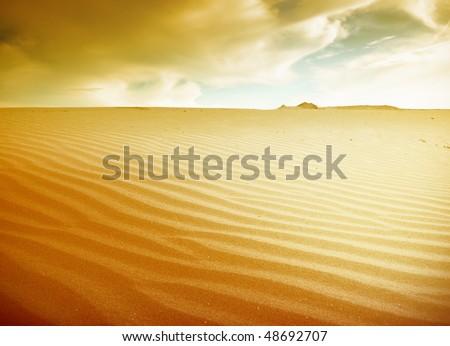 extreme terrain sahara desert - stock photo