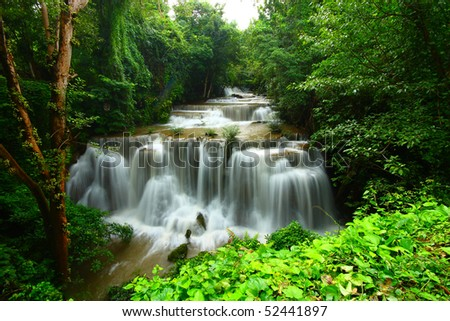 Extreme waterfall in thailand - stock photo