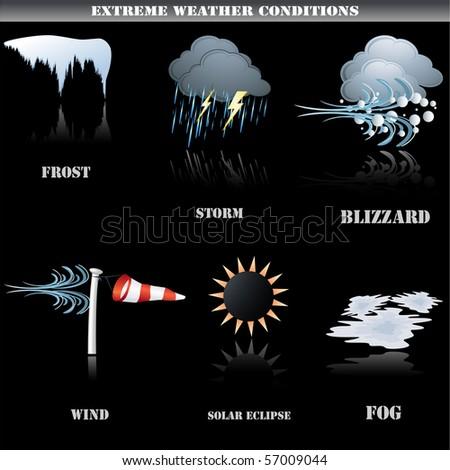 Extreme weather icons set on black background - stock photo