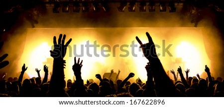 extreme wide-angle/panorama photo of a concert crowd in front of bright stage lights