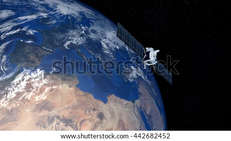 Extremely detailed and realistic high resolution 3D image of earth with deep space one spacecraft above Europe. Elements of this image have been furnished by NASA - stock photo